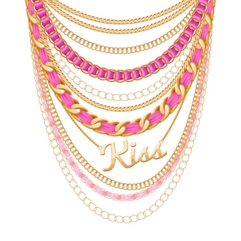 Many chains golden metallic and pearls necklace. ribbons wrapped. kiss word pendant. personal fashion accessory .