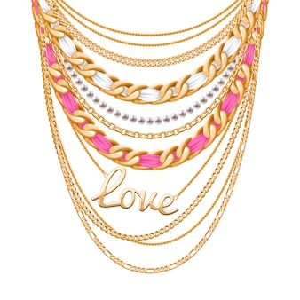 Many chains golden metallic and pearls necklace. ribbons wrapped. love word pendant. personal fashion accessory .