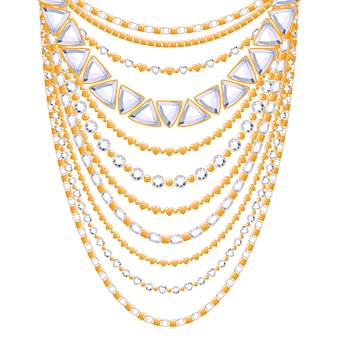 ダイヤモンドの宝石を備えた多くのチェーンゴールデンメタリックネックレス。個人的なファッションアクセサリー。