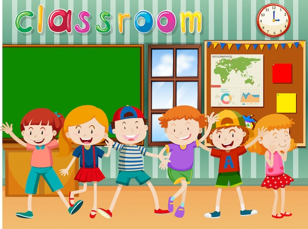 Many children in classroom