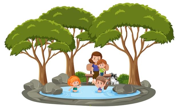 흰색 배경에 많은 나무가 있는 연못에서 수영하는 많은 아이들