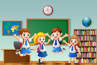 Many children waving hand in the front of classroom