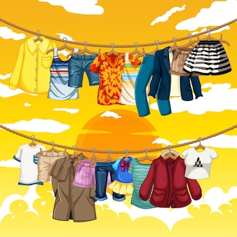 Many clothes hanging on a line on yellow sky background