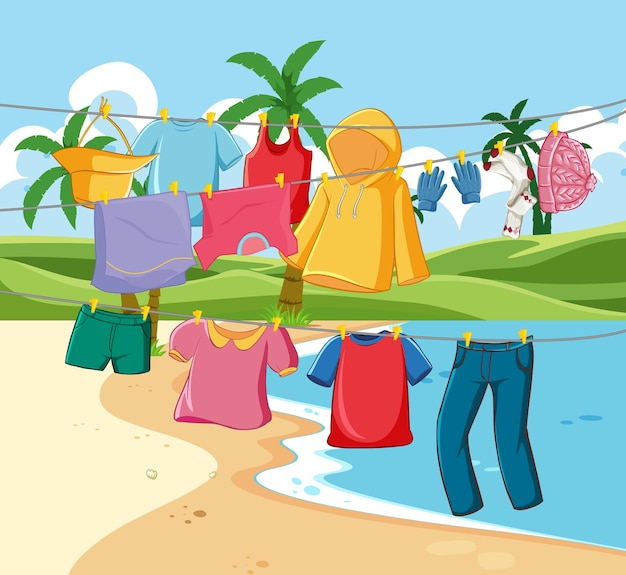 해변 장면에서 줄에 매달려 많은 옷