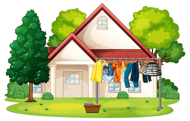 Много одежды висит на веревке вне сцены дома