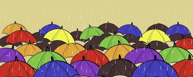 Много красочных зонтов