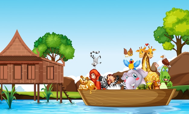 Many cute animals rowing boat