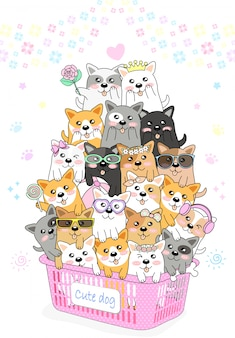 Many cute little dogs are in a pink basket