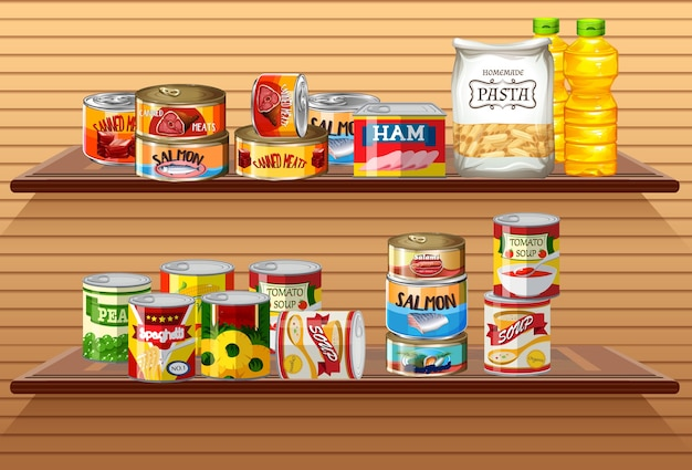 Many different canned foods or processed food on wall shelves