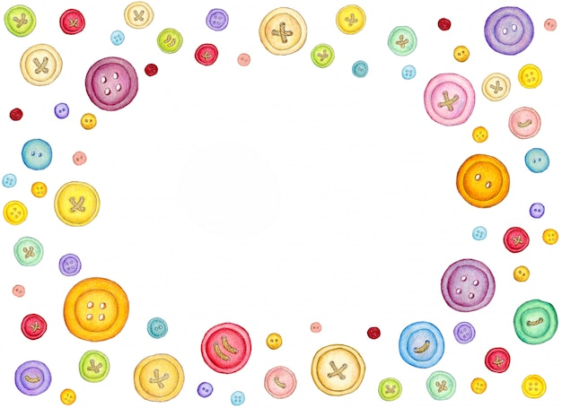 Many different colorful sewing buttons on white background