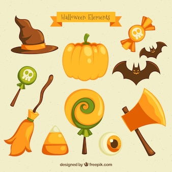 Many different objects of halloween