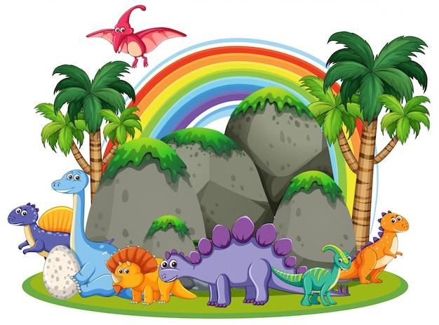 자연 속에서 많은 공룡