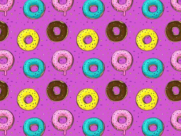 다양한 색상의 장식이 있는 많은 도넛 패턴