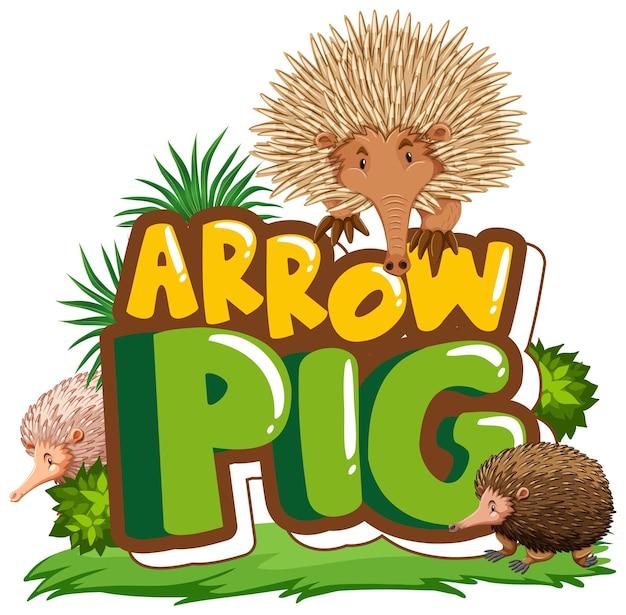 고립 된 화살표 돼지 글꼴 배너와 많은 바늘 두더지 만화 캐릭터