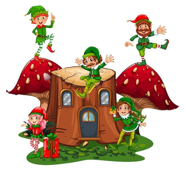Many elves on log home in garden