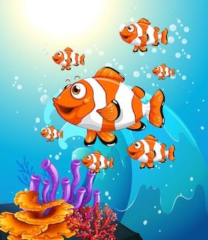 サンゴと水中シーンで多くのエキゾチックな魚の漫画のキャラクター