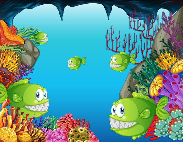 산호와 수중 장면에서 많은 이국적인 물고기 만화 캐릭터