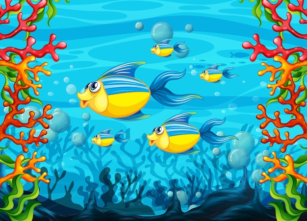 Many exotic fishes cartoon character in the underwater background