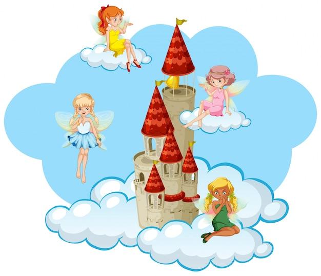 多くの妖精が塔の周りを飛んでいる