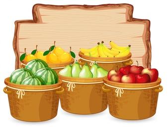 Many fruit on wooden board