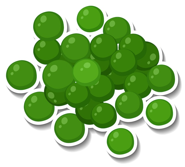 Molte sfere verdi su sfondo bianco