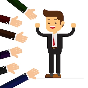 Many hands applauding to a successful businessman