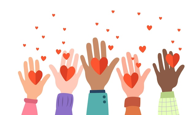 Many hands are holding hearts. a close-knit community, a symbol of love, support, protection. different nationalities together for teamwork, unity or diversity. vector flat illustration