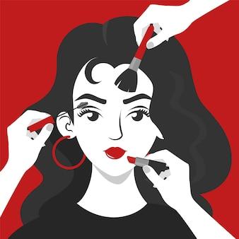 Многие руки делают макияж для красивой молодой женщины.