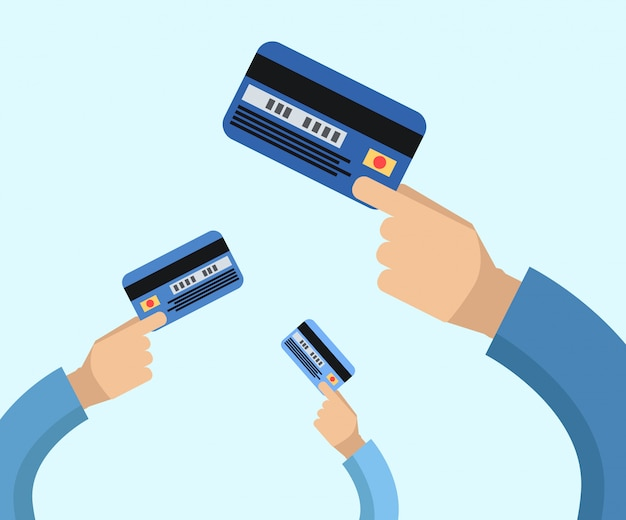 Many hands hold a credit cards flat illustration