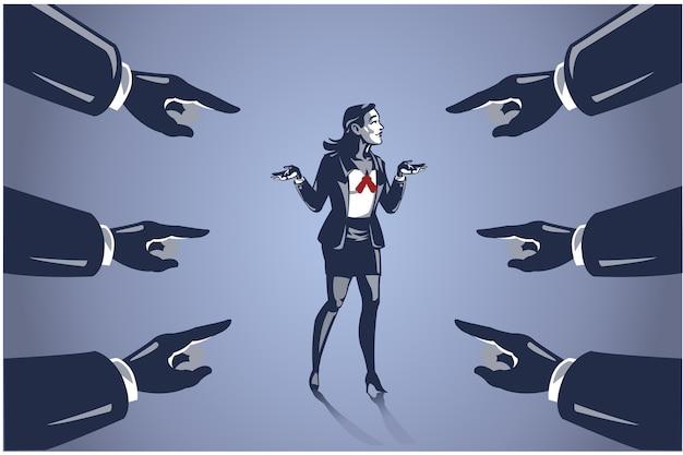 Многие руки указали на деловую женщину, концепция бизнес-иллюстрации обвинения людей в неудачах