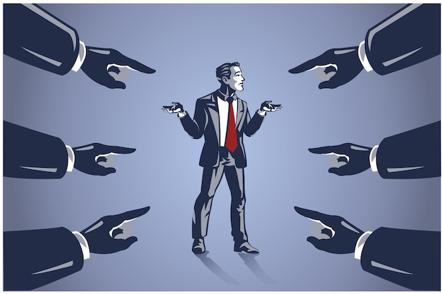 Many hands pointed at businessman, business illustration concept of blaming people for failure