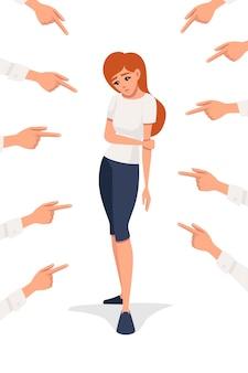 평평한 벡터 삽화를 내려다보는 슬픈 빨간 머리 화가 여자를 가리키는 많은 손