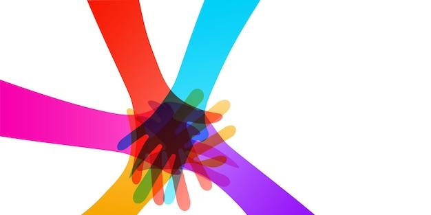 Многие руки вместе цветные иллюстрации