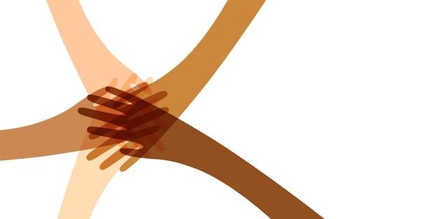 Many hands together color illustration