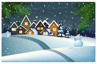 Many houses with snow on roof in town illustration