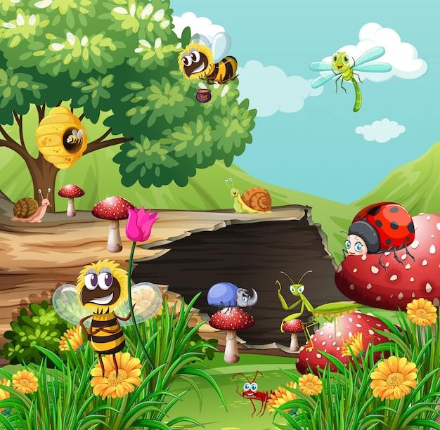 庭にたくさんの虫