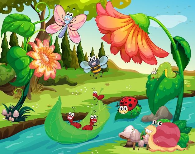 Многие насекомые, живущие у реки
