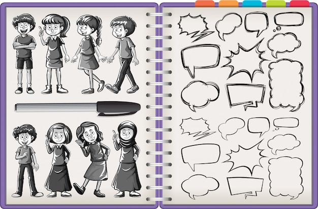 Many kid character and thinking doodle isolated on purple notebook on white background