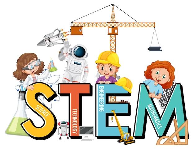 Многие дети мультипликационный персонаж с образовательным шрифтом stem
