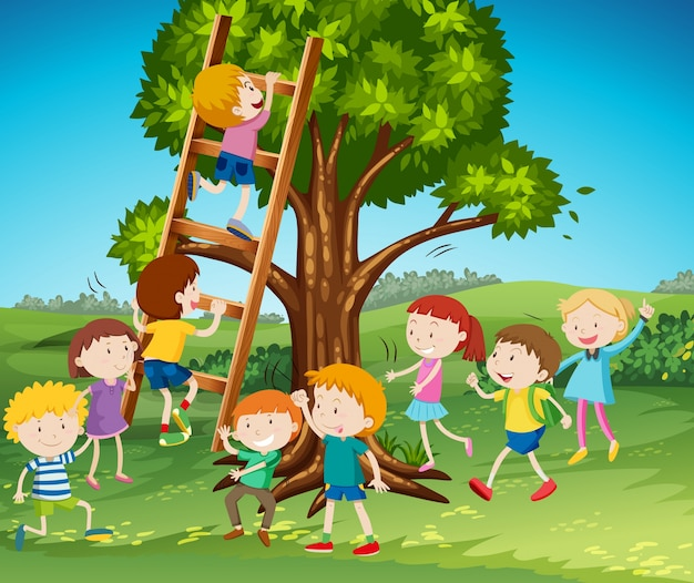 Many kids climbing up ladder in park