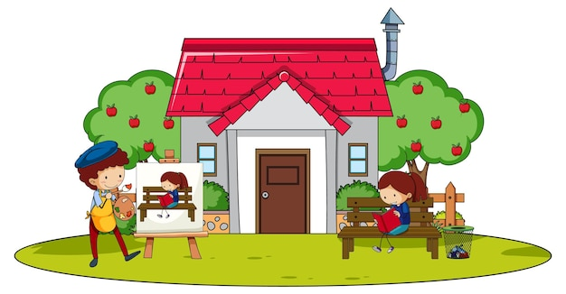 집에서 다양한 활동을하는 많은 아이들