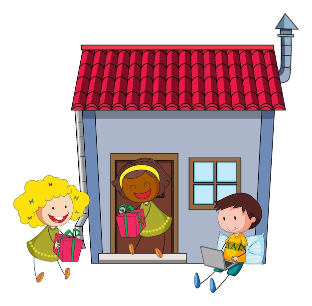 家の周りでさまざまな活動をしている多くの子供たち