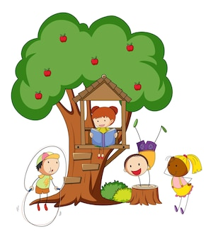 Many kids doing different activity with a big tree isolated