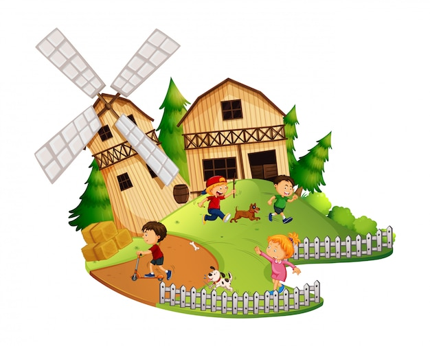 Many kids playing in the farm