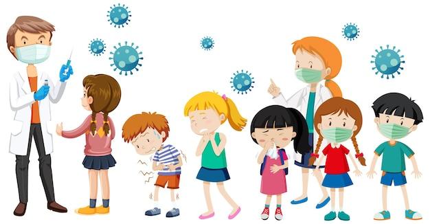 흰색 배경에 covid-19 백신을 받기 위해 줄을 서서 기다리는 많은 아이들