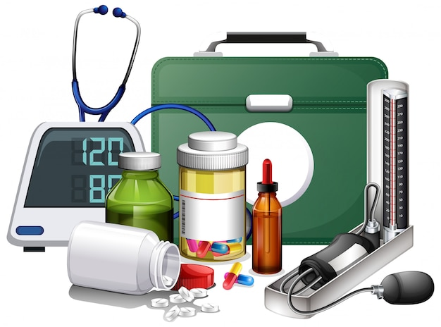 Many medical equipments and medicine on white background