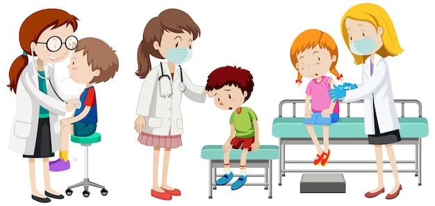 Molti bambini pazienti e personaggi dei cartoni animati di medici su sfondo bianco