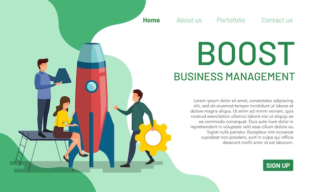Many people are working to improve management performance.landing page for boost business management