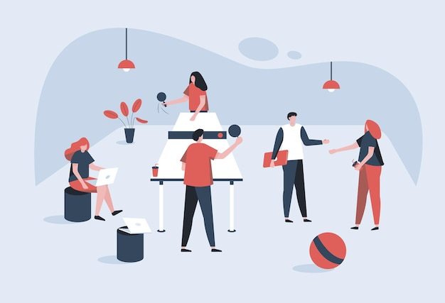Many people doing office activity. one man & woman are playing each other. other one is working for office & one man, wonman discuss with some topic. illustration in cartoon style.