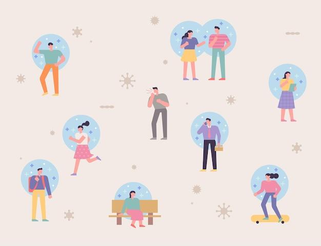 屋外の多くの人々は免疫シールドを持っています